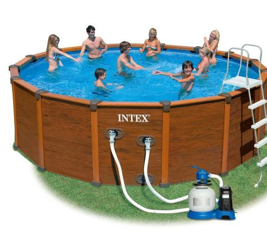 Piscine intex sequoia spirit 5m69 x 1m35 aspect bois chez of piscine intex sequoia - Piscine intex aspect bois ...