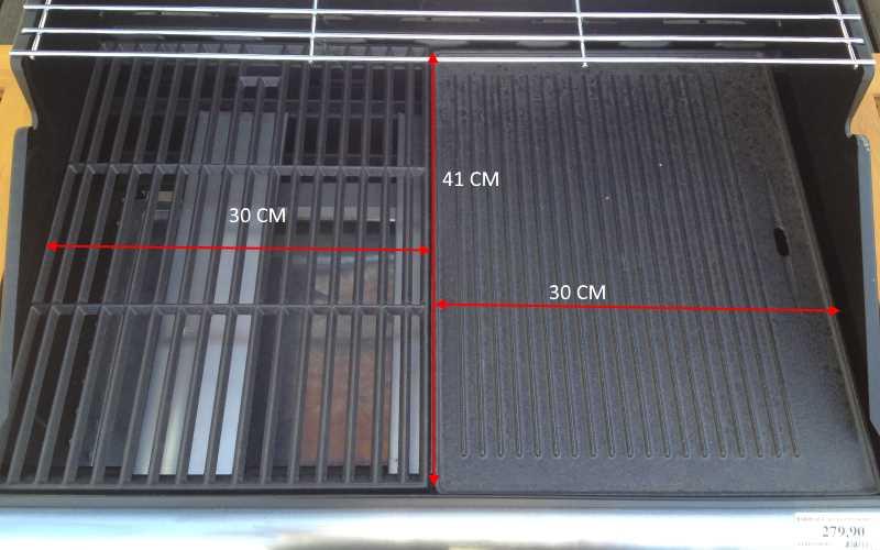 Dimensioni dell'area di cottura del bbq a gas