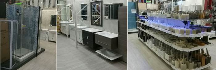 Esposizione box doccia, lavelli e accessori per il bagno