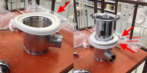Motaggio della piletta del rubinetto miscelatore