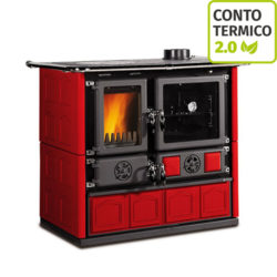 Cucina a legna Nordica Rosa Maiolica Bordeaux 6,5 kW