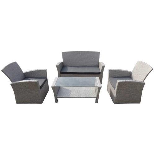 Salotto da esterno modello Emily, con struttura in metallo, completo di divano, due poltrone e tavolino con piano in vetro