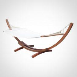 amaca con struttura di legno sospesa indipendente profilo