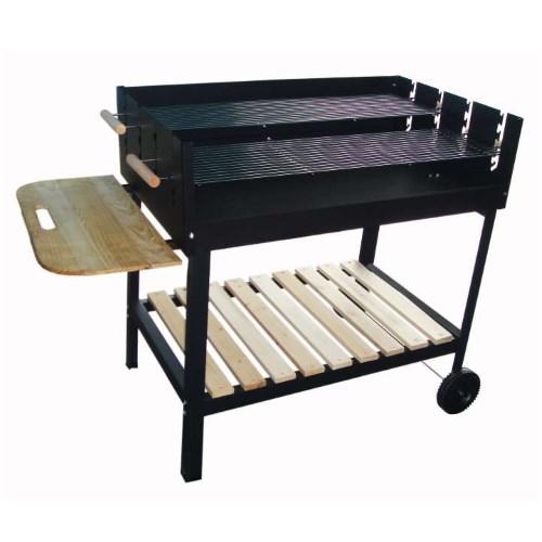 Barbecue a carbonella party grill, con doppia griglia e piano di appoggio laterale e infriore. Rotelle sulla base per il movimento