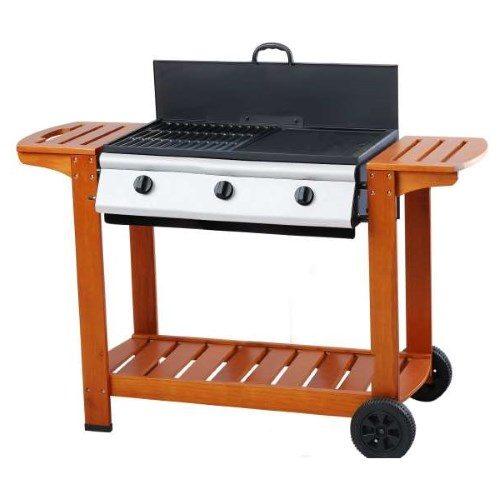 Barbecue a gas con 3 fuochi. Struttura in legno con coperchio. Due ripiano laterali e ripiano inferiore porta attrezzi.