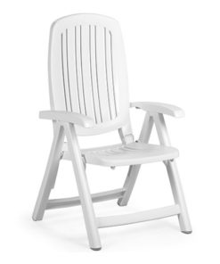 Poltrona serie Nardi modello Salina in colorazione bianca. Dotata di braccioli e schienale reclinabile