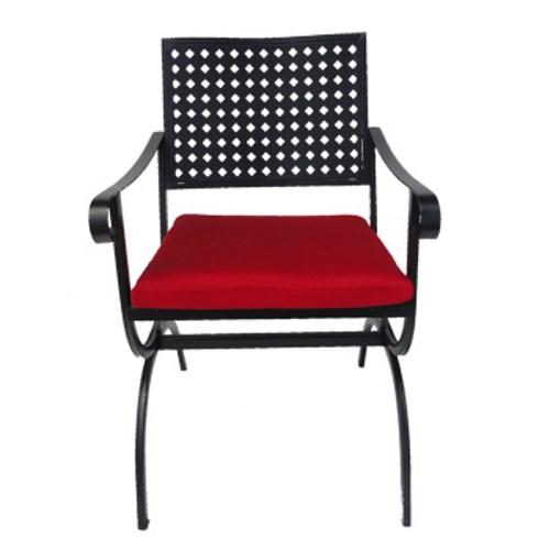 Sedia del set da esterno marble con cuscino rosso