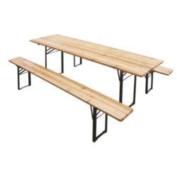Foto del set birreria in legno modello dolomiti, composto da tavolo e due panche