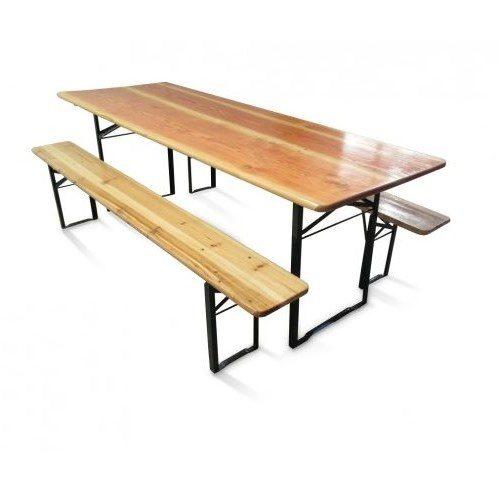 Set birreria in legno di abete composto da tavolo e due panche