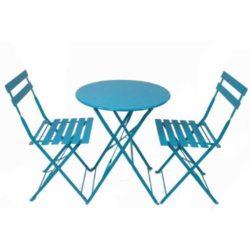 Set da esterno in acciaio di colore blu, composto da tavolo pieghevole e due sedie pieghevoli