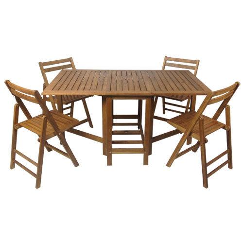 Set di tavolo e 4 sedie in legno di acacia richiudibile e compatto