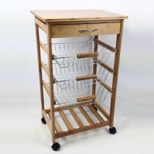 Carrello da cucina in legno di bambù con cassetto e 3 cesti