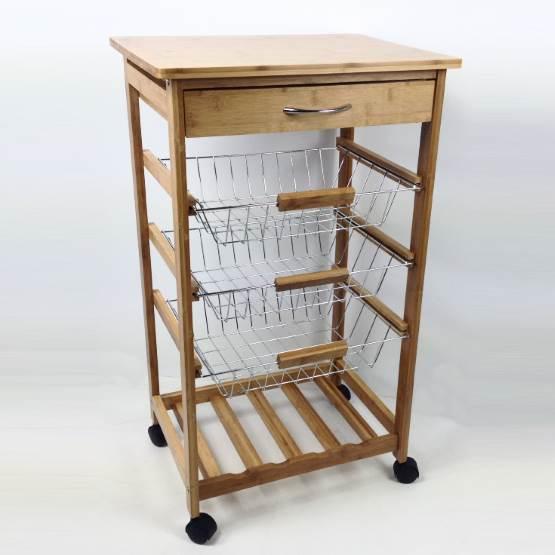 Carrello da cucina in legno di bambù con cassetto e 3 cesti ...