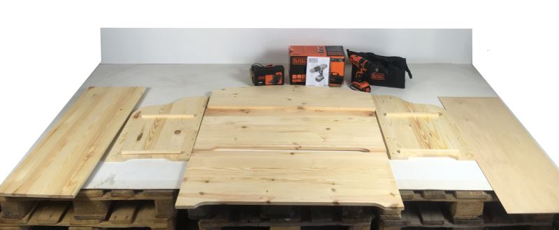 Tutti i pezzi della cassapanca in legno da costruire