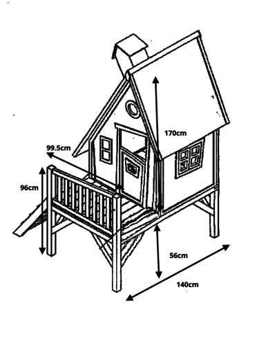 Misure della casetta in legno per bambini LEWIS