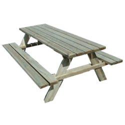 Set picnic tavolo 2 panche legno grezzo