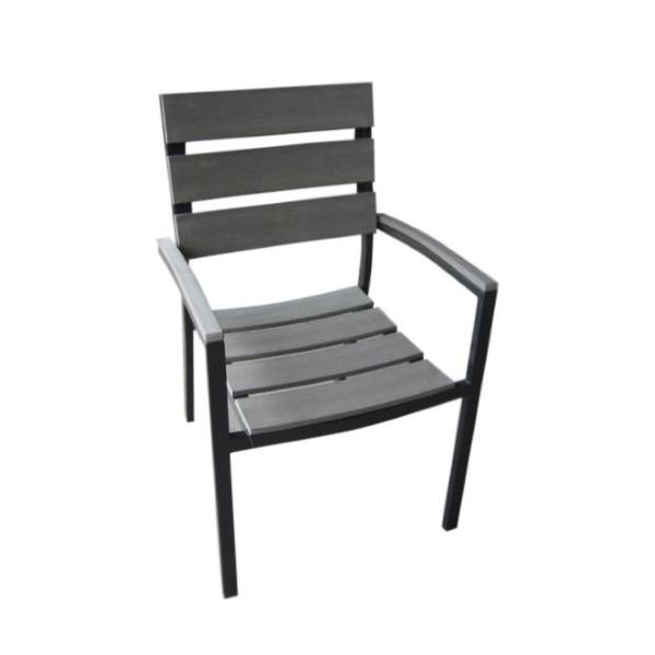 Sedia con braccioli in Polywood e alluminio