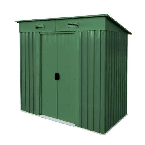 Casetta Maisonette box in metallo verde tetto ad 1 falda piatto da giardino