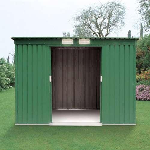 Casetta box maisonette in metallo da giardino tetto piatto - Box da giardino ...