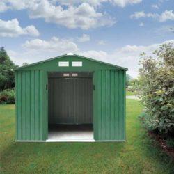 Casetta Box in Lamiera Zincata verde da Giardino 257 x 171 x h198cm porta aperta