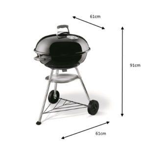 Misure del barbecue a carbonella Compact Kettle Weber diametro 57cm nero