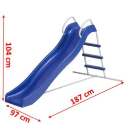Scivolo blu in ferro e plastica con schema delle misure