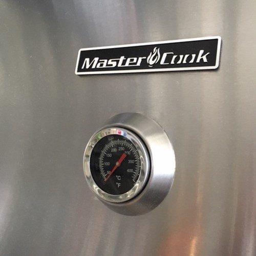 Termometro della temperatura posto sul coperchio del barbecue Master Cook