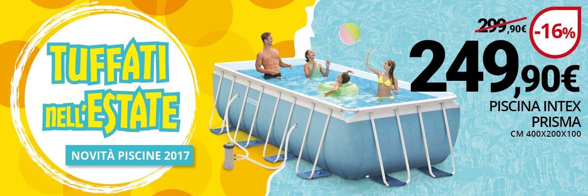 Banner sulla promozione della piscina fuori terra prisma 400x200. Scontata a 249 euro