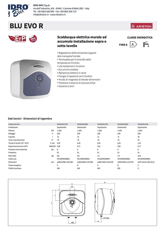 Ariston 3100321 scaldabagno elettrico blu evo r sopra lavabo a norme eu 30 litri prezzi e offerte - Scaldabagno elettrico 30 litri ...