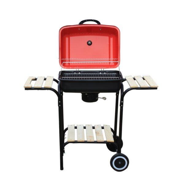 Barbecue Rosso e Nero con coperchio e due ripiani
