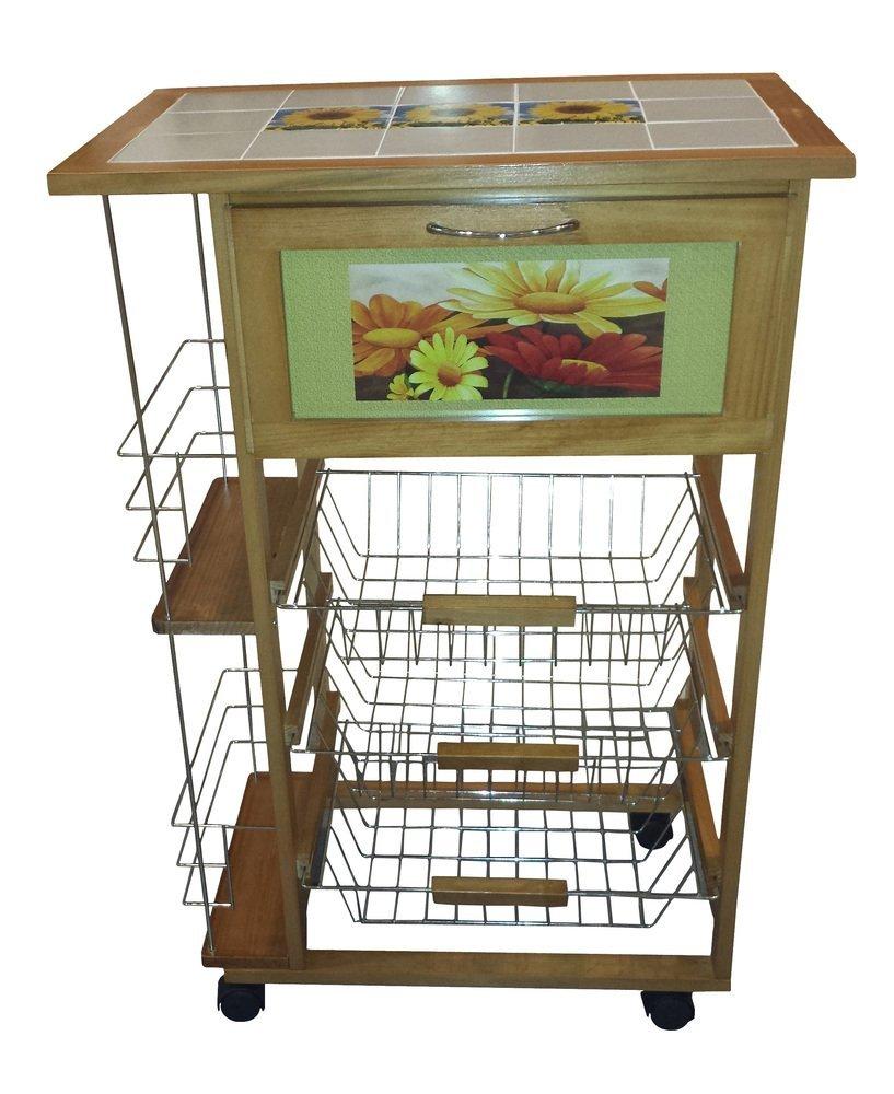 Carrello da cucina con piano in ceramica decorato : Prezzi e Offerte