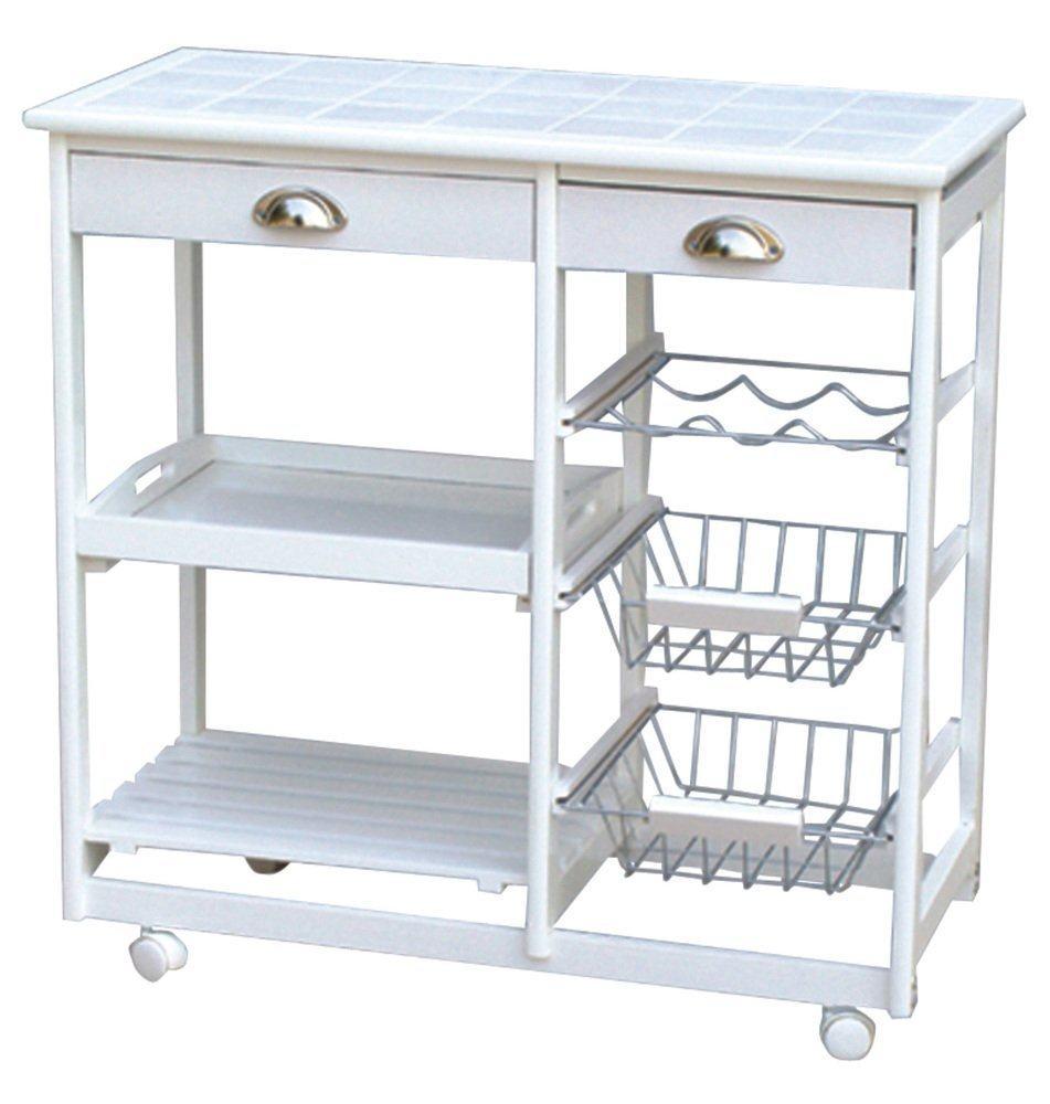 Carrello da cucina in colore bianco in legno con piano di ceramica ...