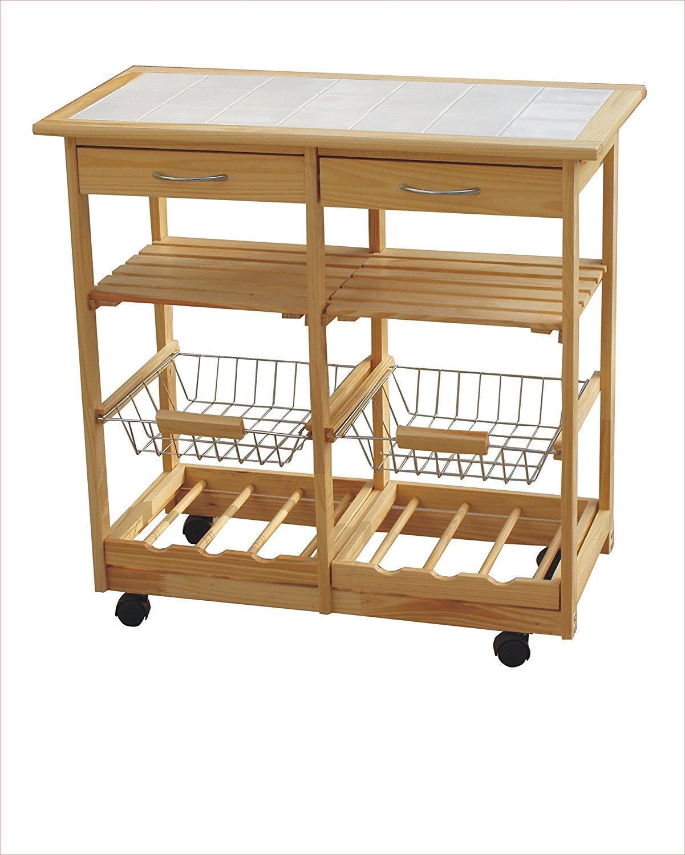 Carrello in legno da cucina con piano in ceramica 2 - Carrello portafrutta legno ...