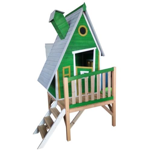 Casetta in legno palafitta verde per bambini tetto for Casetta legno bambini fai da te