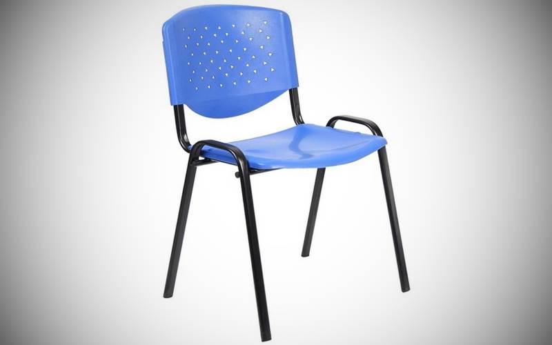 Sedia Da Ufficio In Metallo Nera Con Rivestimento Blu Prezzi E Offerte