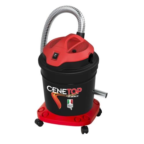 Aspiracenere da 1200 watt con funzione pneumatica di scuotimendo del filtro. Colore nero e rosso.