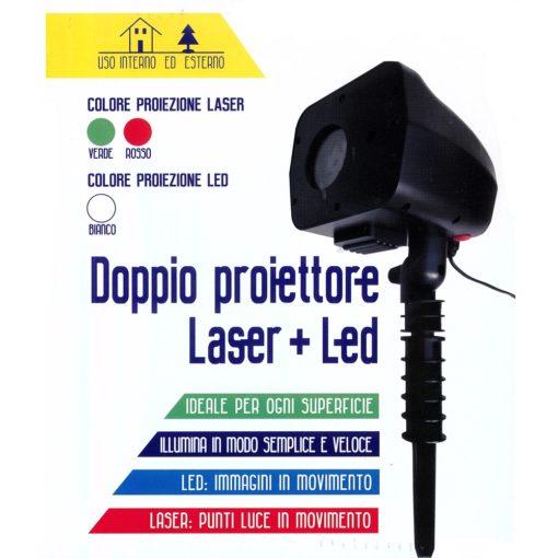 Proiettore laser e led doppio, verde e rosso e led bianco