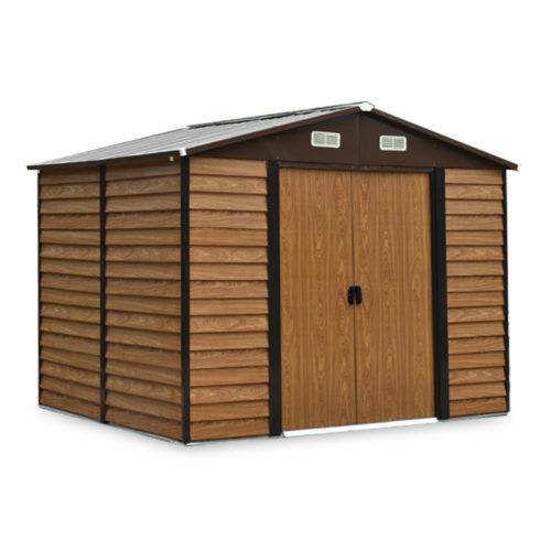 casetta da giardino colore finto legno in lamiera e acciaio