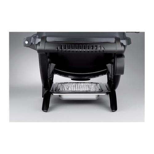 Barbecue Weber Q1400 Elettrico -Grigio vista frontale con scolo