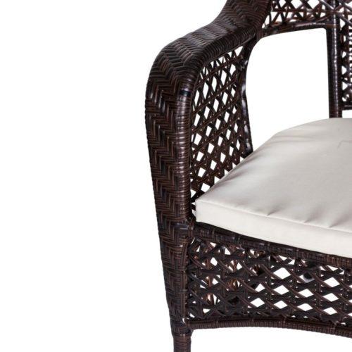 salotto da esterno Bistro Chenge dettaglio seduta sedia in polyrattan e acciaio