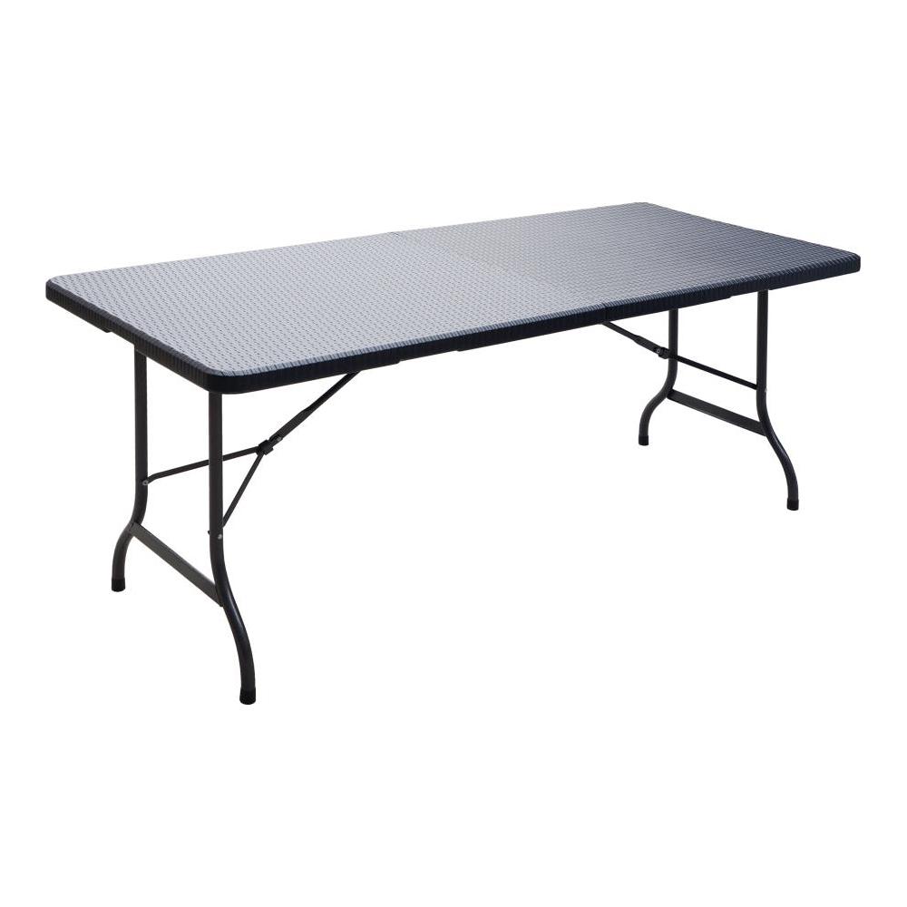 Tavolo in acciaio e rattan 180x75 cm