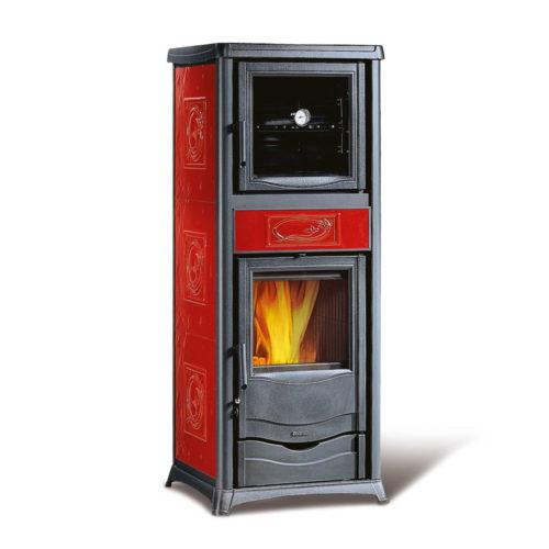 Stufa a legna con forno La Nordica colore Bordeaux