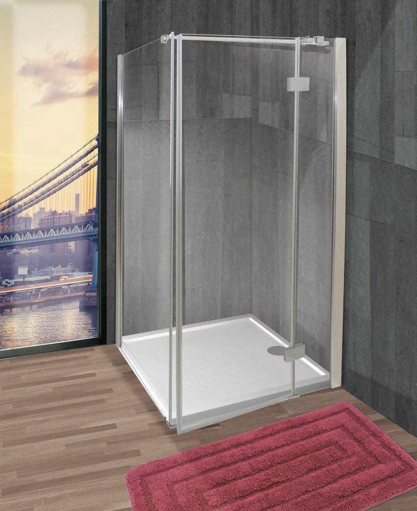 Box doccia in vetro temperato trasparente con profilo in metallo cromato prezzi e offerte - Box doccia in vetro ...