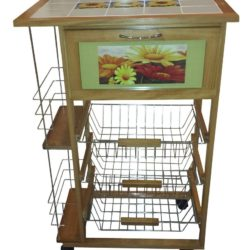 Carrello da cucina in legno di pino tinta naturale con piano in ceramica decorato 57 x 37 83h cm, con cassetto e ripiani portabottiglie
